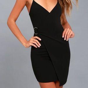 Lulu's Black Bodycon Wrap Dress
